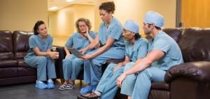 group of nurses with iPad