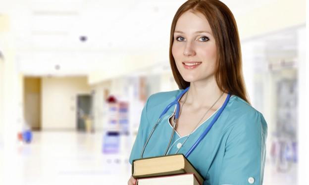 nurse with books