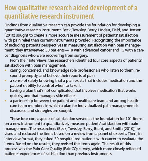 How qualitative research aided development of a quantitative research instrument.