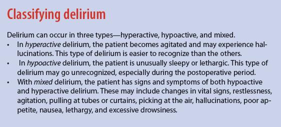 Classifying delirium