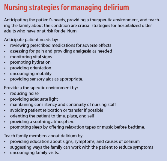 Nursing strategies for managing delirium