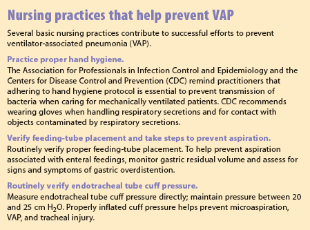 Nursing practices that help prevent VAP