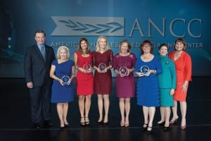 Left to right: Dr. Michael L. Evans, President, ANCC; award winners June K. Amling, Christina M. Tussey, Cathy C. Cartwright, Toni M. Standley, and Michelle L. Witkop; Donna Havens, Chair, Commission on Magnet® Recognition; Linda C. Lewis, Chief ANCC Officer/Executive Vice President