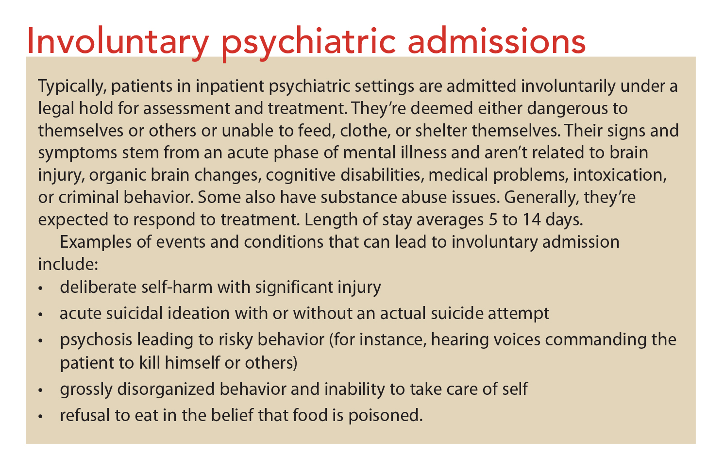Psychiatric assessment strategies for inpatients: Resources