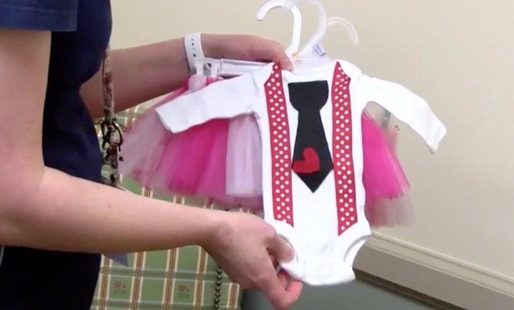 NICU Nurses make Valentine's Day outfits for littlest patients.