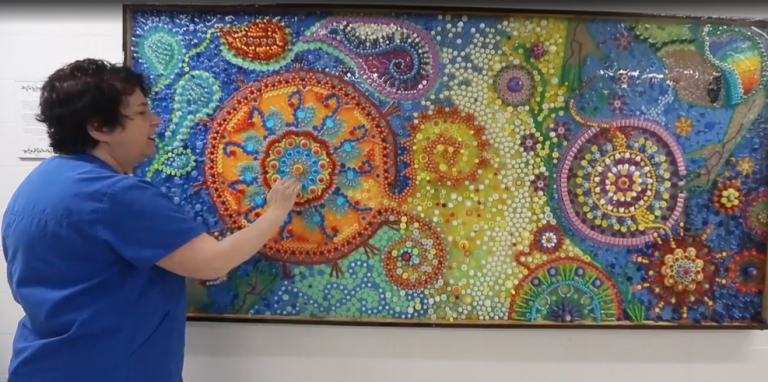 Nurse spent 28 years collecting medical waste to create a massive medical art mural