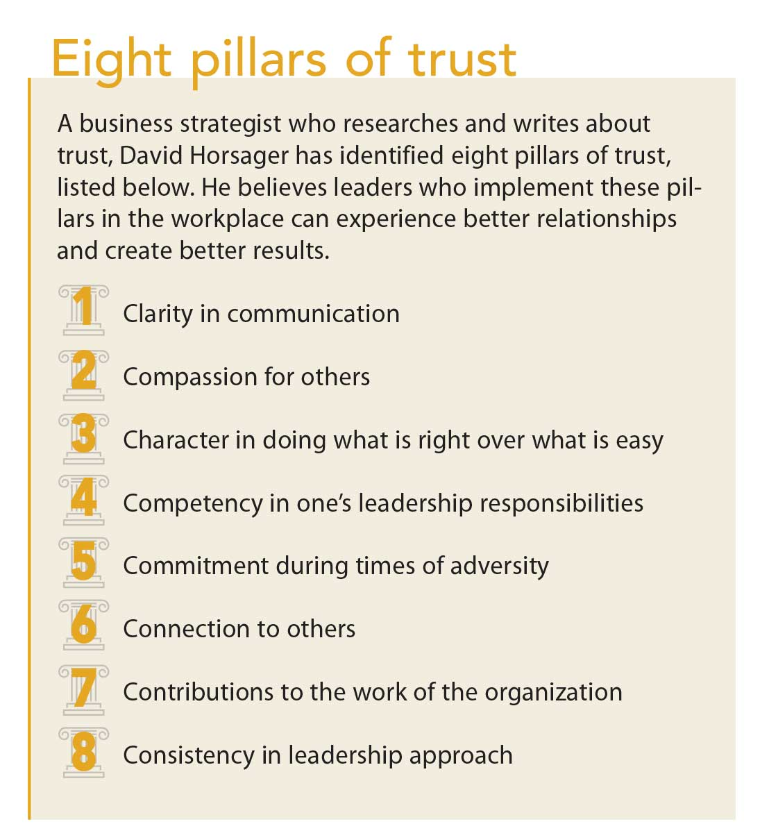 Without trust, leaders lose their influence and ability to retain team  members. Horsager views trust as a competitive edge shared by great leaders  and great ...