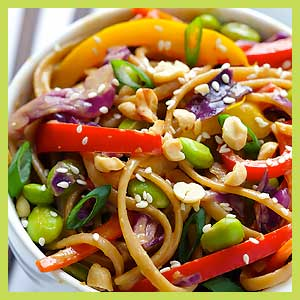 Rainbow Peanut Noodles Lunch Bowl