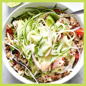 Quinoa and Cucumber Noodles Salad with Avocado Dressing