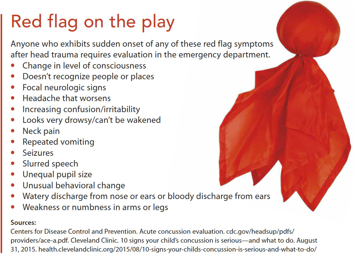 concussions prevention assessment management red flag play