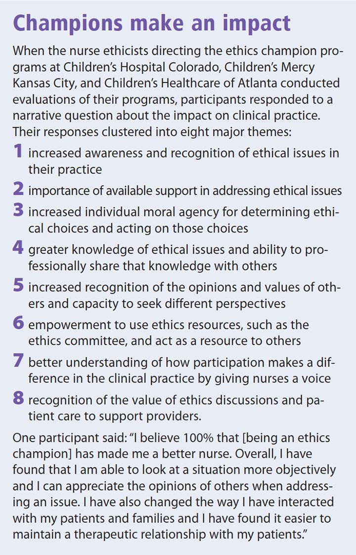 novel ethic champion program impact