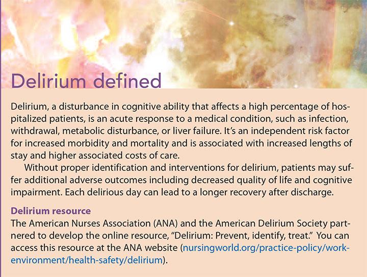 nu nurses screen delirium defined