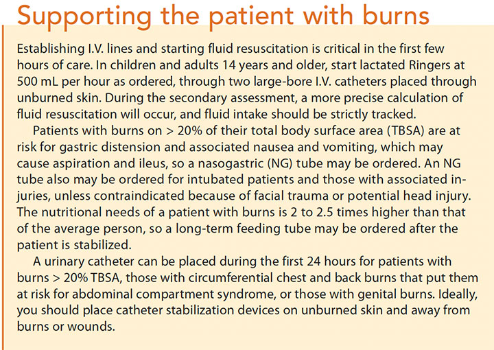 initial assessment mgmt burn patients support