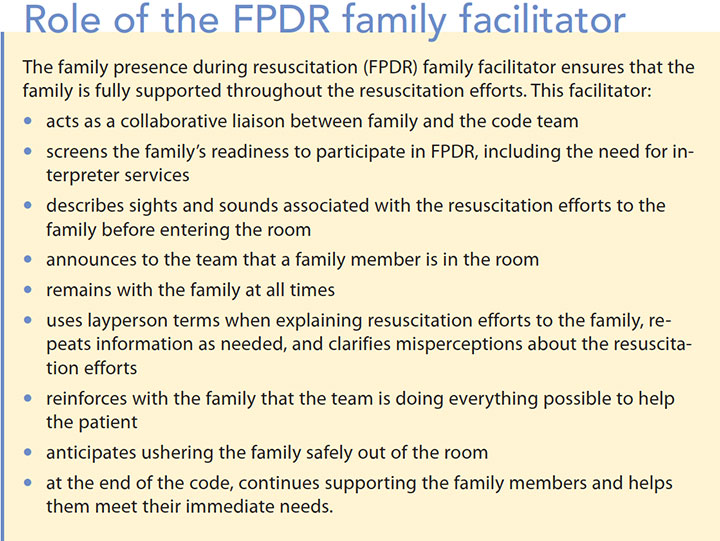 family presence resuscitation icu role fpdr facilitator