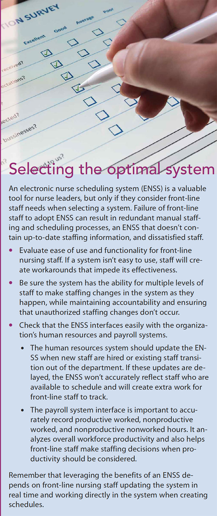 electronic nurse scheduling system selecting optimal system