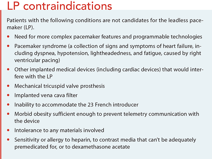 leadless pacemakers cardiac pacing contraindications