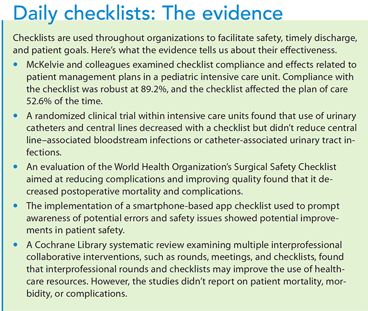 quality improvement daily checklist evidence
