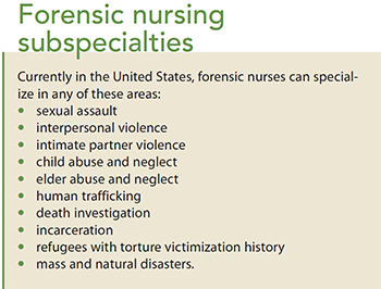 forensic nursing overview of a growing profession subspecialties