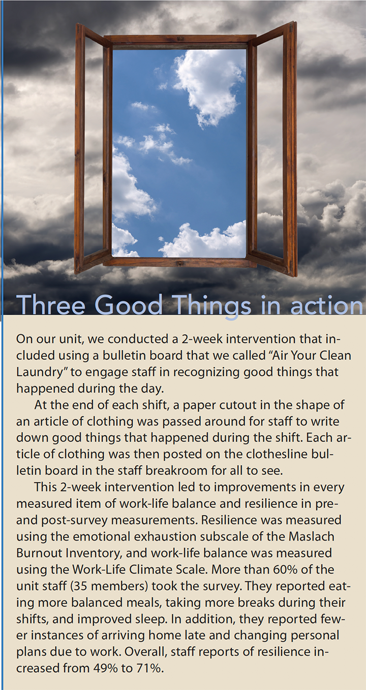 three good things build resilience and improve well being action